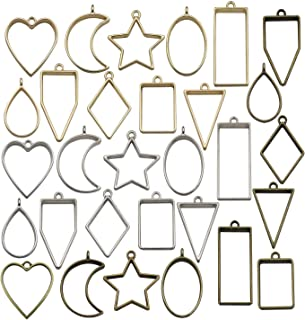 30PCS Bezel Charms Pendants Open Back Bezel Pendants Hollow Mold Pendants Assorted Geometric Hollow Pressed Flower Frame Pendant DIY Crafts for Resin Earrings Necklace Bracelet M285