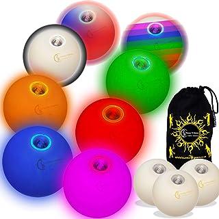3X LED Balles Lumineuses pour Jongler. Balles de jonglage luminescentes . Glow Jonglage Balles + Sac de Voyage. (Vert / Bl...