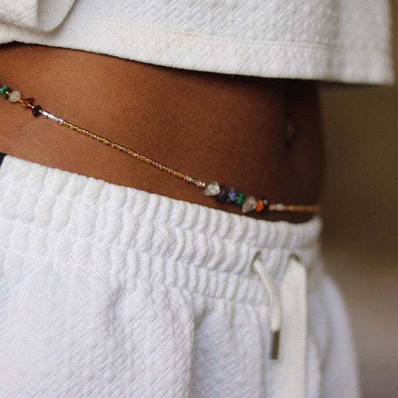 Larancie African Belly Waist Beads Sexy Body Chain Beaded Waist Chain Multicolor Handmade Gold Belt Beach Bikini Chain Boho Jewelry for Women and Girls (Style 1)
