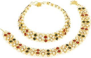 Efulgenz - Cavigliera in stile indiano Bollywood placcato oro con perle kundan, coppia (2 pezzi)