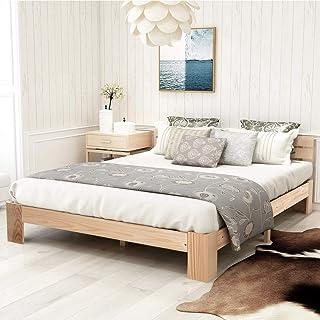 Joycelzen Lit double en bois avec tête de lit et sommier à lattes pour enfants, adolescents, adultes, 140 x 200 cm