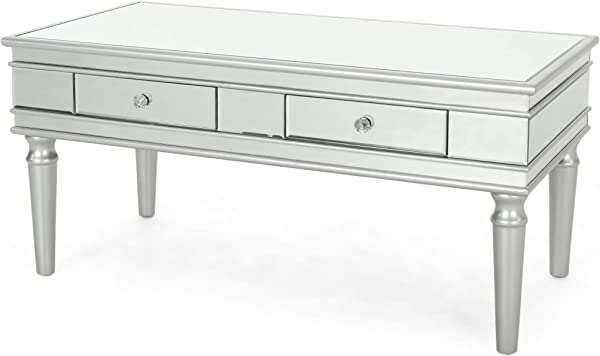 Xanthe Modern Mirrored Coffee Table With Drawers Tempered Glass Silver Firwood Frame