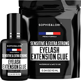 Eyelash Glue for Lash Extensions - Extremely Strong Lash Glue for Professional Use - 1 Sec Drying & Maximum Bonding - 2X Size 0,34OZ - Extra Black Lash Adhesive - Latex FREE Lash Adhesive