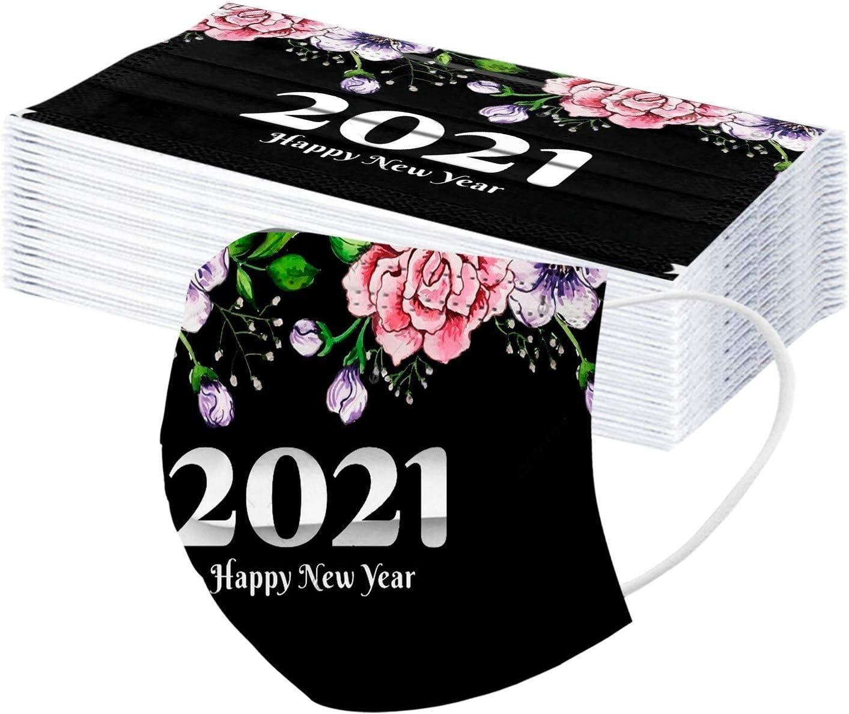 10 PCS Erwachsene Silvester Einmal Gesichtbandana mit Nasenstreifen 2021 Frohes Neues Jahr Drucken Komfortabel Verstellbarer Atmungsaktiv 3-Schicht-Filter Staubdicht Gesichtbandana