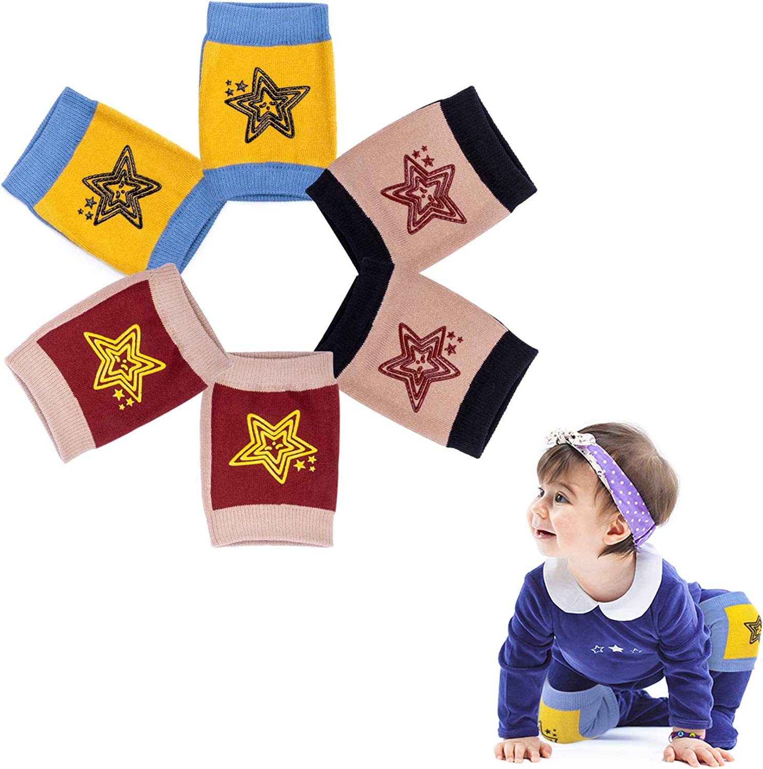 Baby Knee Pads for Crawling Babies Anti-Slip Protectors Infants Leg Warmers Toddlers Kneepads Unisex (3 Pairs)