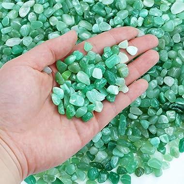 Twdrer 2lb/950g Small Natural Green Aventurine Tumbled Chips Crushed Stone Irregular Shaped Quartz Rock Healing Reiki Crystal