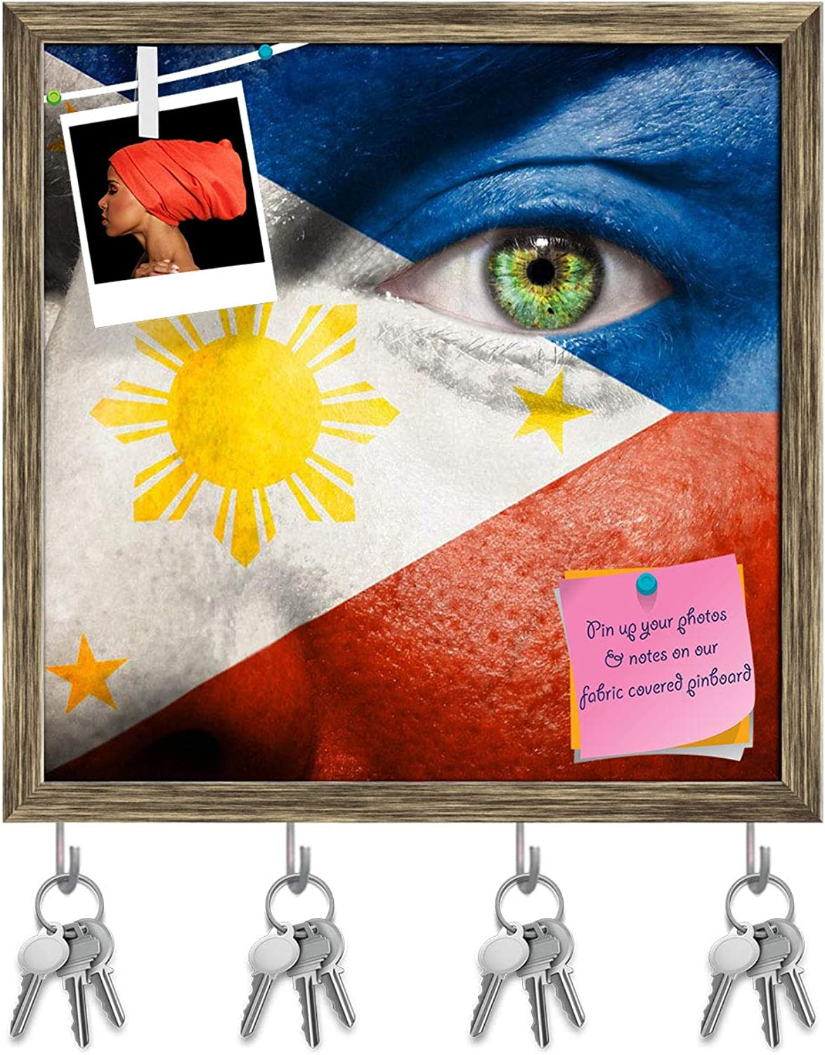 Artzfolio Italian Flag Painted On A Face Key Holder Hooks   Notice Pin Board   Antique golden Frame 20 X 20Inch