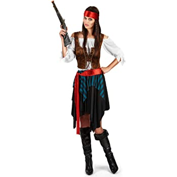 Vegaoo - Disfraz Pirata Rayado Azul y Negro Mujer Talla Grande ...