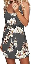 ACHIOOWA Sommerkleid Damen Ärmellos Strandkleid Chiffon V-Ausschnitt Bohemian Casual Sexy Mini Trägerkleid