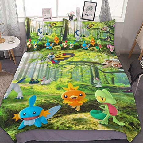 Bedding Duvet Cover Set Queen 90x90 Inch Treecko Torchic Mudkip Absol Skitty Eautifly 3 Pieces Bedding Set With Zipper Closure And 2 Pillow Shams Cute Cartoon Bedroom Comforter Sets For Boys Girls Home