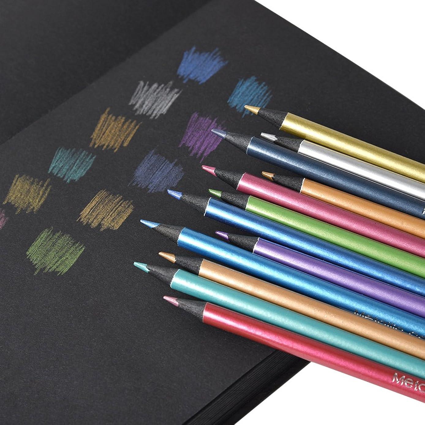 12 Count Metallic Colored Pencils Non-Toxic Black Wood Drawing Pencils?Break Resistant Coloring Pencils Art Supplies?Painting Pen?for Adults Kids?Students Sketching Coloring Book Art Craft Graffiti