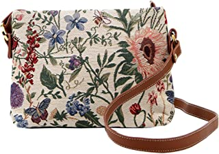 Ladies Garden Flower Tapestry Mini Satchel Cross-body Bag Adjustable Strap also as Small Shoulder Bag by Signare (XB02-MGD) l
