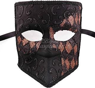 Black Bauta Venetian Masquerade Mask for Men