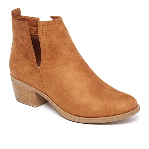 8e84a0a72764 Reneeze AH67 Women s Low Stacked Cut Out Ankle Boots Dress Heels