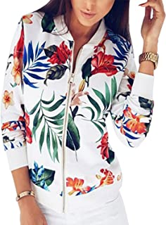 BB&KK Women's Floral Bomber Jacket Light-Weight with Pockets 2 Colors (S-3XL)