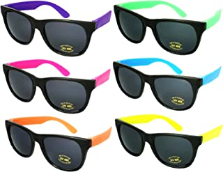 Edge I-Wear 6 or 8 Pack Neon Sunglasses for Adult Wedding Kid Party Favors with CPSIA certified-Lead(Pb) Content Free
