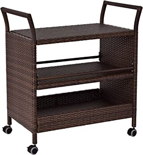 Richman789 Rattan Serving Rolling Cart Bar Modern Trolley Tea Stand Table Storage Indoor Outdoor Furniture