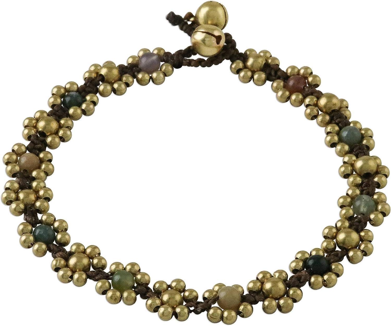 NOVICA Agate Brass Beaded Anklet, 9