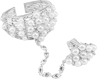 Women's Statement Pearl and Rhinestone Cuff Bracelet Ring Chain Set