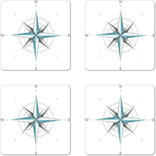 Ambesonne Compass Coaster Set of 4, Antique Wind Rose Diagram for Cardinal Directions Axis of Earth Illustration, Square Hardboard Gloss Coasters for Drinks, Standard Size, Teal Dimgray