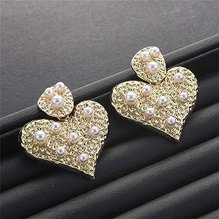 Janly - Orecchini pendenti da donna con ciondolo a forma di cuore e perla dorata