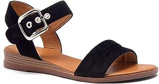 Herstyle Ariella Women's Open Toe Ankle Strap Platform Low Wedge Sandals Fashion Shoes