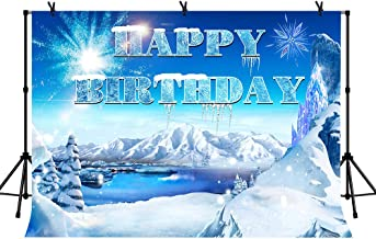 LYLYCTY 7x5ft Happy Birthday Frozen Background Beautiful Snow World Castle for Children's Birthday Party Baby Shower Film Photography Background LYZY0957