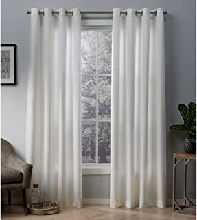 Exclusive Home Curtains Whitby Metallic Slub Yarn Textured Silk Look Window Curtain Panel Pair with Grommet Top, 54x96, Winter White, Gold, 2 Piece