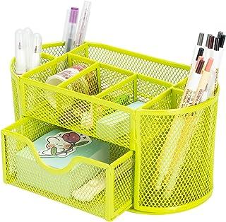 Aobopar Desk Organizer with 9 Compartments, Office Desktop Organizer with Drawer, Metal Stationary Organizer, Desk Caddy F...