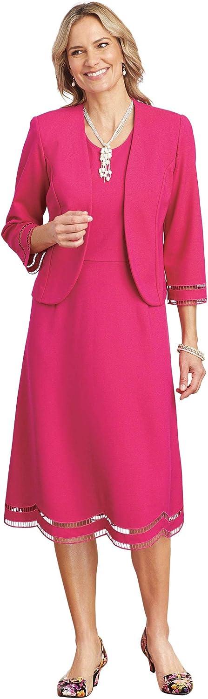 ANTHONY RICHARDS Women's Illusion Trim A-Line Jacket Dress