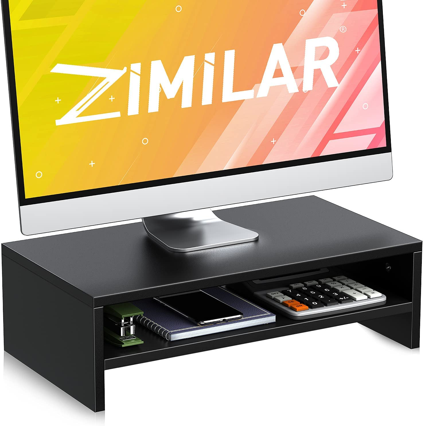 Zimilar 2 Tiers Monitor Stand Riser, Wood Monitor Riser with Storage Organizer, Monitor Stand for Screen, Laptop, Desktop, Printer, Premium Computer Stand Riser for Home & Office Desk