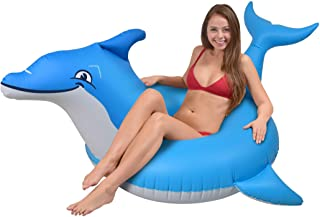GoFloats Dolphin Pool Float Party Tube - Inflatable Rafts for Adults & Kids