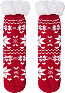 BFUSTYLE Boys Girls Fuzzy Slipper Socks Knit Plush Anti-Slip Christmas Socks for 5-9T Kids