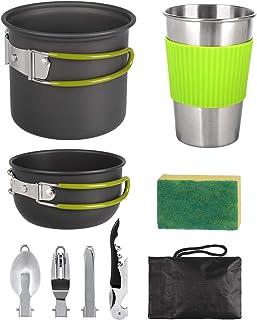 SKYSPER Kit de Casseroles Camping Poêlé en Aluminium pour 1 à 4 Personnes Ustensiles de Cuisine de Camping Multifonctions ...