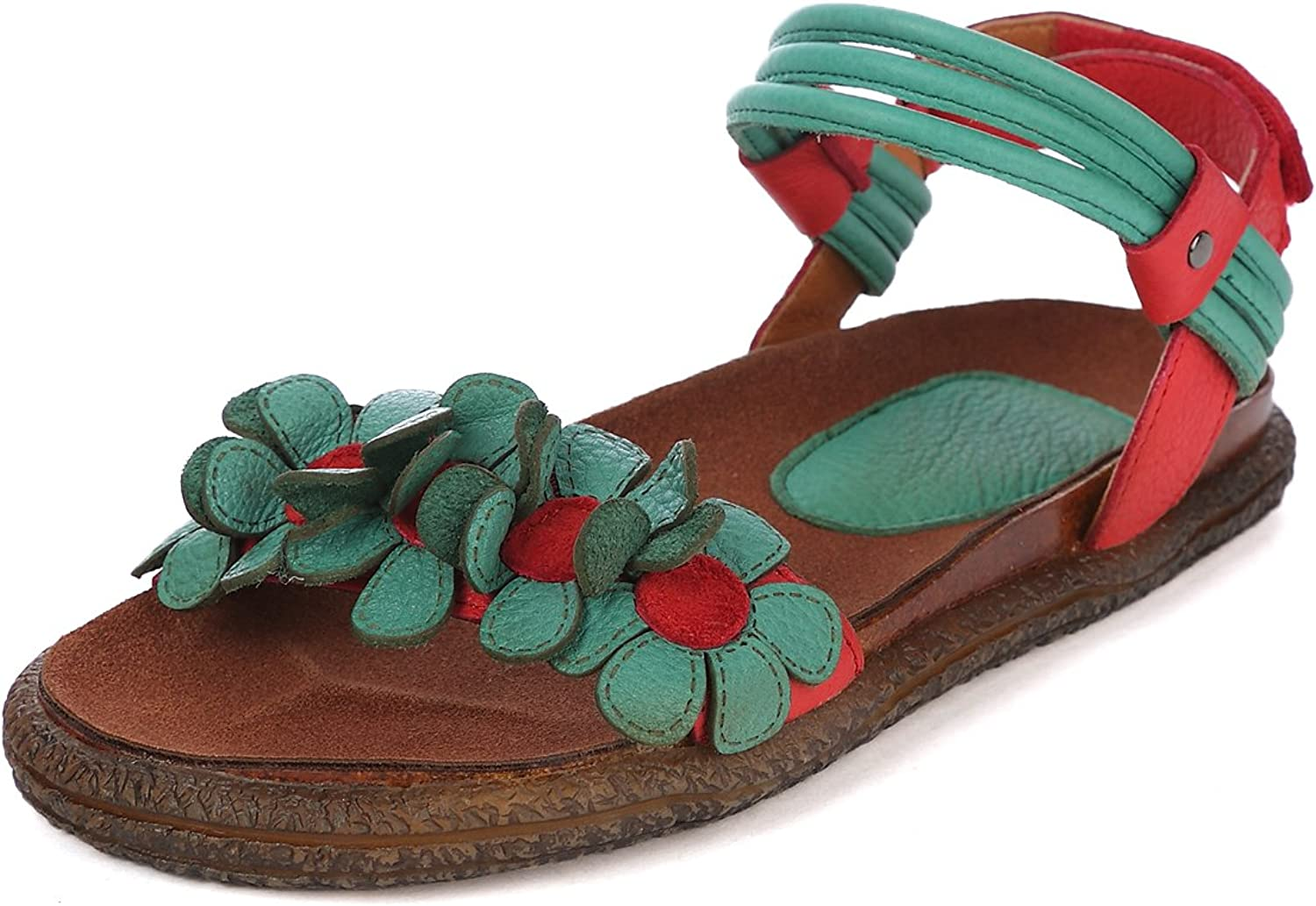 Dwarves Handmade Summer shoes for Women with Flower,Flat Casual shoes Open Toe Leather Strappy Sandals Green