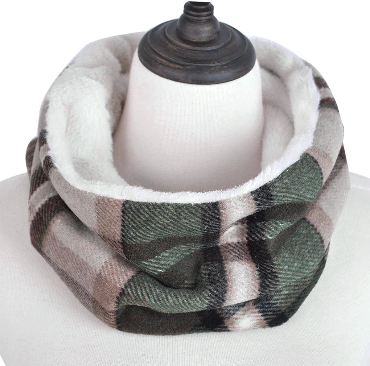Premium Checker Plaid Soft Faux Fur Infinity Loop Circle Scarf - Diff Colors