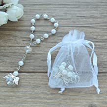 Baptism Favor 12PCS Mini Angel Rosaries Christening First Communion Recuerditos Bautizo Gift for Guest with Gift Bags