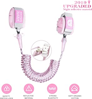 Toddler Harness Walking Leash- Child Anti Lost Wrist Link - Child Safety Harness - Upgrade with Reflective(6.5ft) - for Boys and Girls to Disneyland, Zoo or Mall.(Light Pink)