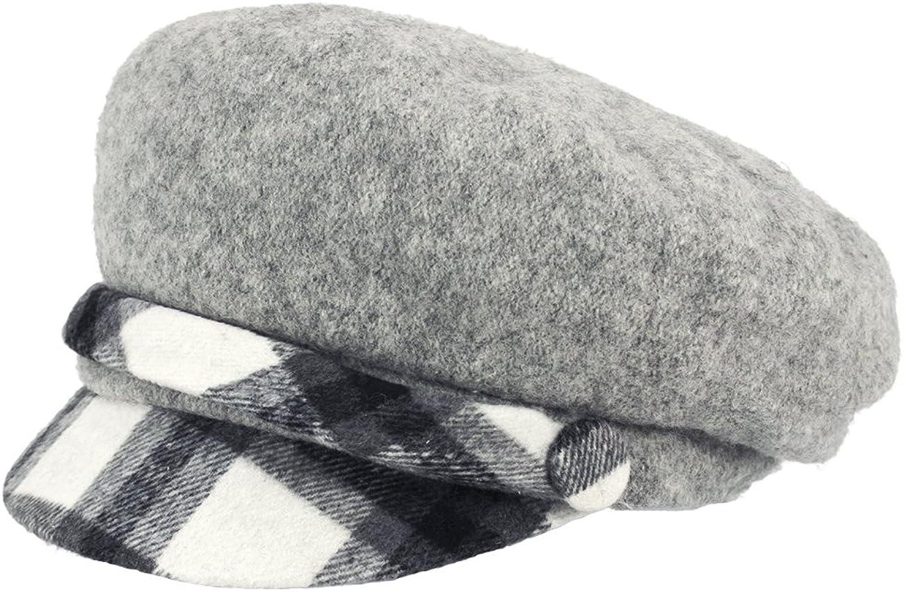 Dahlia Women's Newsboy New York Mall Cap - Wool Year-end gift Lined w Plaid Winter Hat Belt