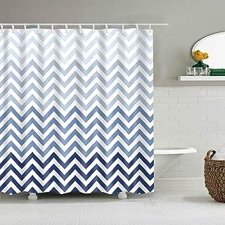 BROSHAN Ombre Chevron Shower Curtain Fabric Blue and White Purple Striped Modern Geometric Pattern Bath Curtain 72x72 Inch,Polyester Waterproof Bathroom Decor Set with Hooks,72x72