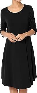 TheMogan Basic Jersey Knit 3/4 Sleeve Trapeze Pocket Loose T-Shirt Dress