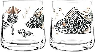 Dekomiro Ritzenhoff Whisky Whiskeyglas 2er Set Frühling 2020 von Olaf Hajek Distel und Fisch mit Glasreinigungstuch