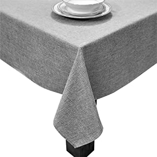 HomChic, Linen Look, Washable, Spill Proof, Heavy Weight, Treated Polyester Tablecloth, 60 x 60 inch Square Grey