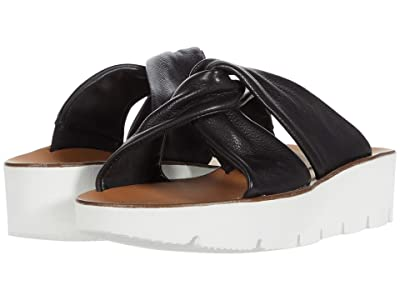 Paul Green Alicia Wedge (Black Leather) Women