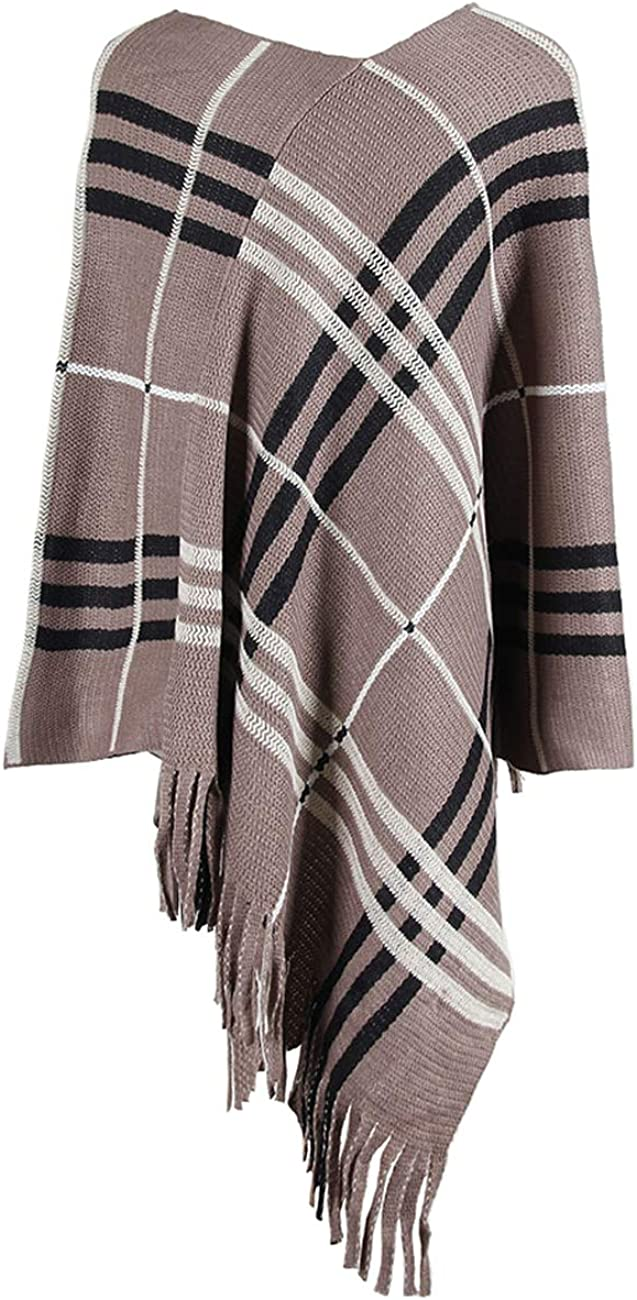 LilyCoco Women's Striped Color Block Fringe Knitted Poncho Top Sweater Pullover Shawl Wraps