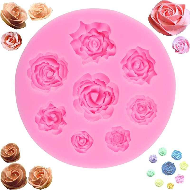3D Rose Mold Silicone Handmade Baking Molds 8 Cavity Roses Collection Fondant Candy Silicone Mold For Sugarcraft Cake Decoration Cupcake Topper Polymer Clay Soap Wax Making Crafting Projects