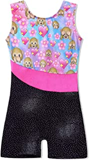 TFJH E One-Piece Sparkle Dancing Gymnastics Biketard Leotard with Short for Little Girls 3-15Y