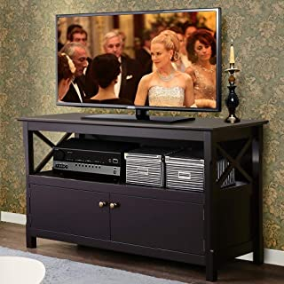 Yaheetech X Shape TV Stand Base Console Storage Cabinet Home Media Entertainment Center with 2 Doors Wood