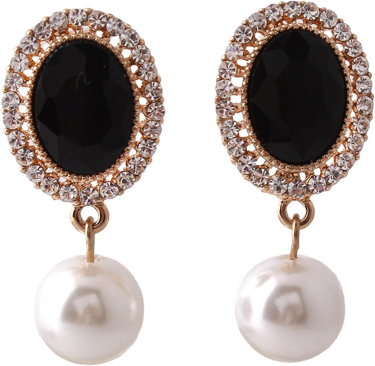 Grace Jun Gold Plated Rhinestone Crystal Simulated Pearl Clip-on Drop Earrings