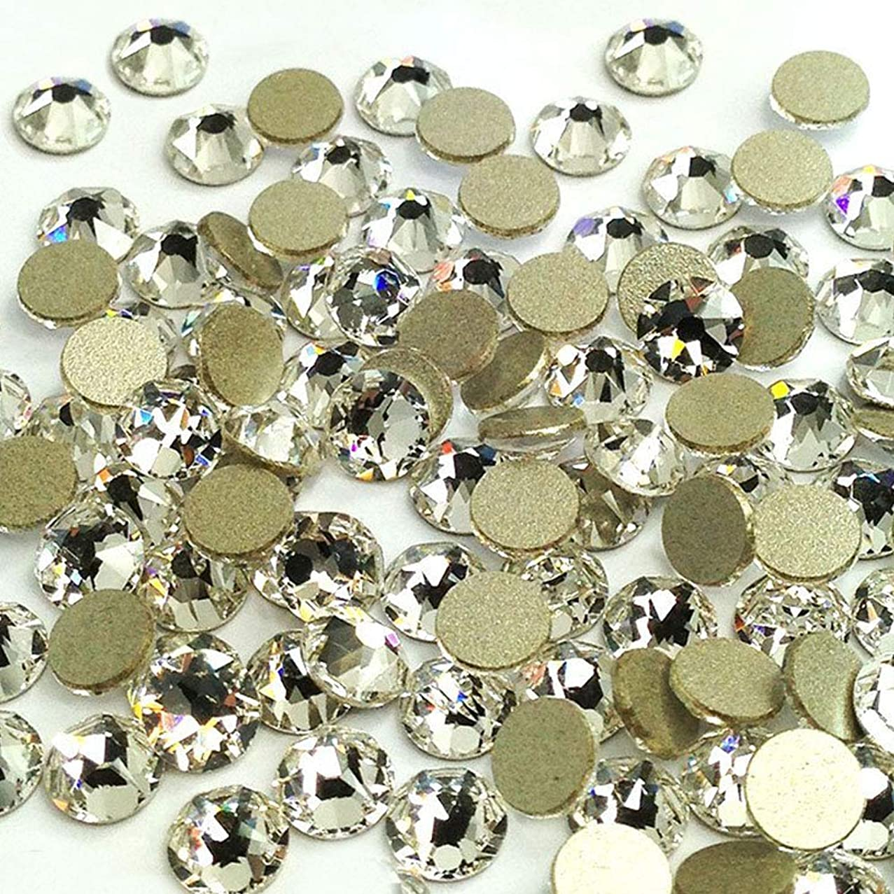 LWCUS 144pcs Crystal Clear Swarovski-Grade No-Hotfix Non-self-Adhesive Flat Back Round Diamante Gem Rhinestones for DIY Crafts Decorating (5mm)